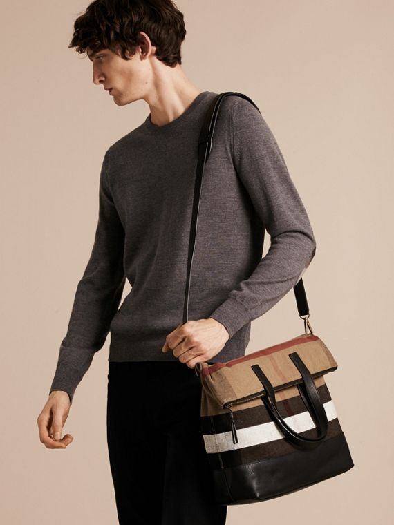 Black Canvas Check and Leather Folding Messenger Bag - cell image 2