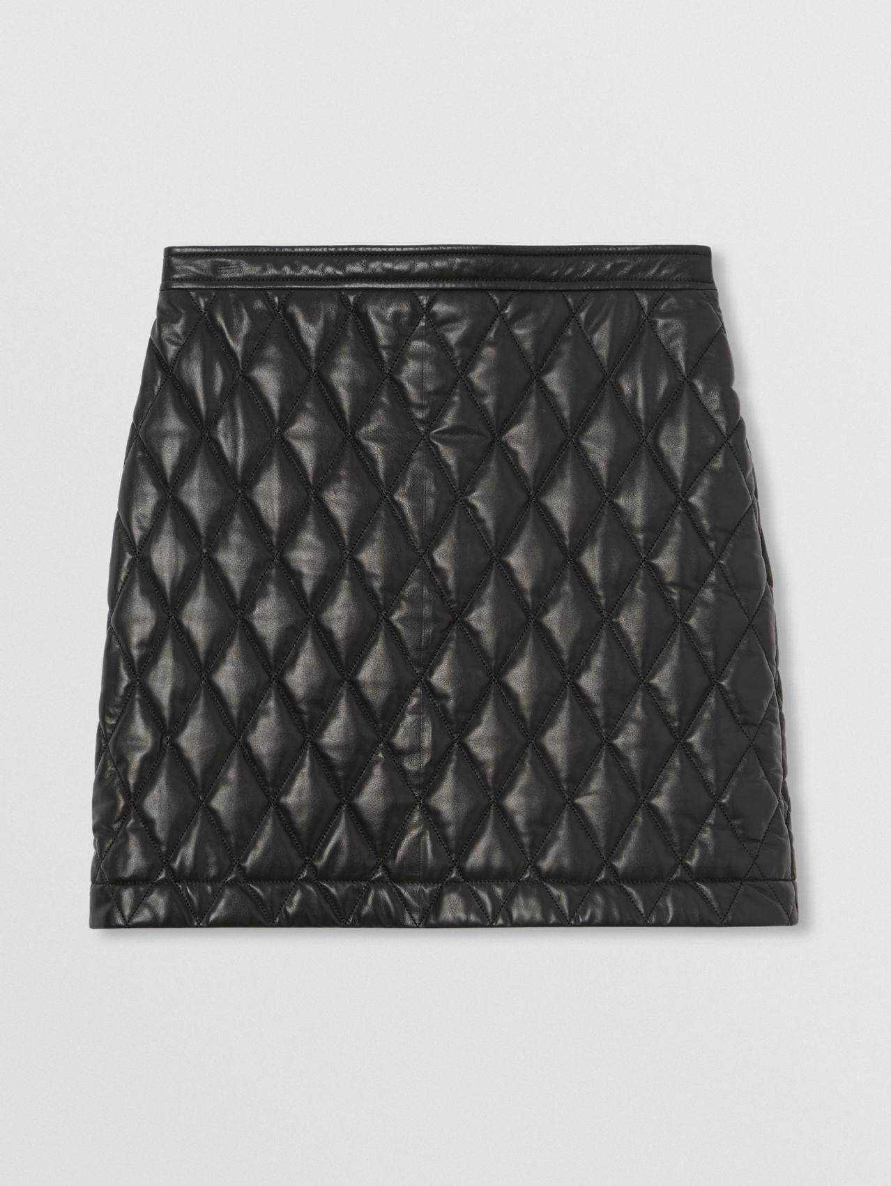 Diamond Quilted Lambskin Mini Skirt in Black
