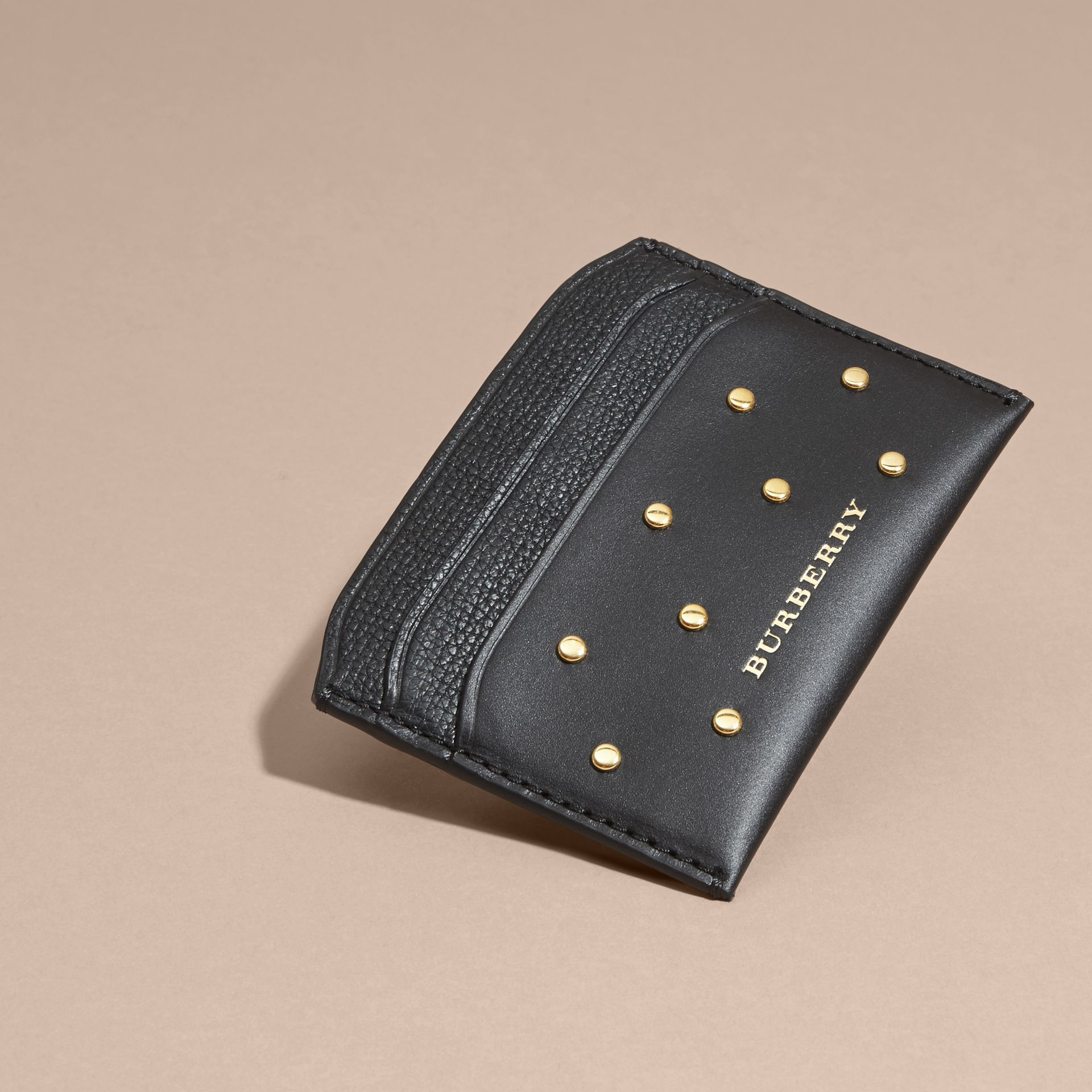 Black Riveted Leather Card Case - gallery image 3