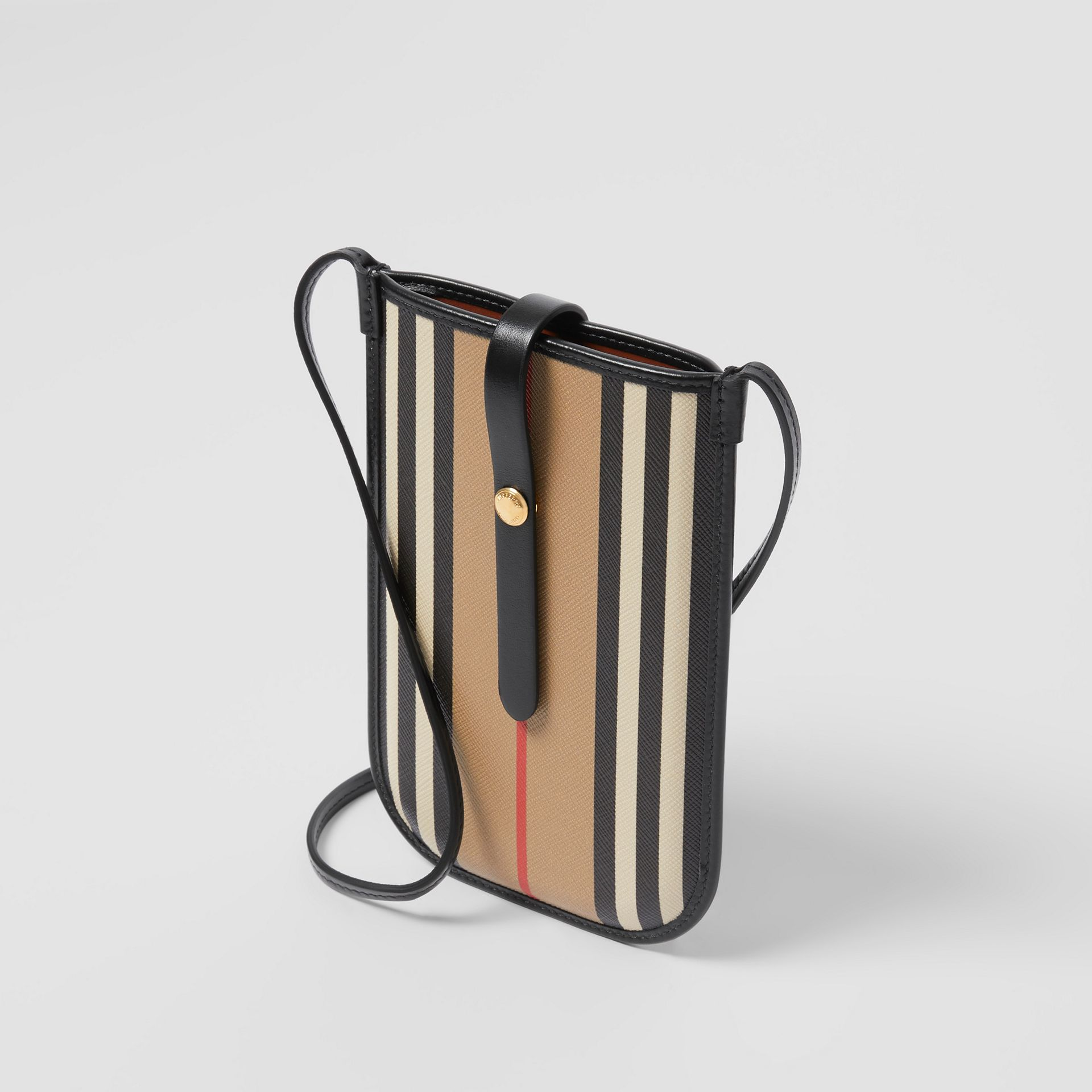Icon Stripe E-canvas Phone Case with Strap in Archive Beige | Burberry - gallery image 2