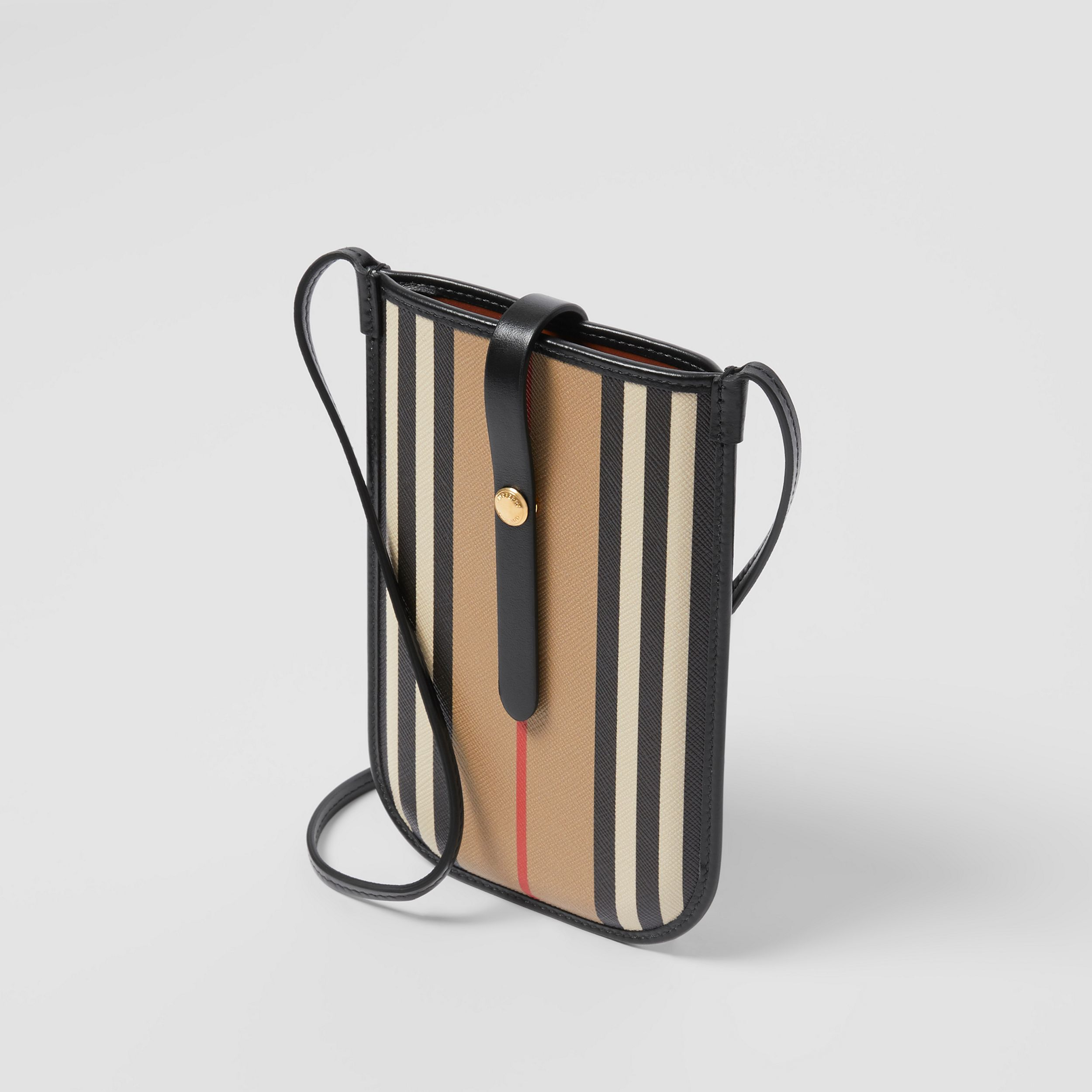 Icon Stripe E-canvas Phone Case with Strap in Archive Beige | Burberry - 3