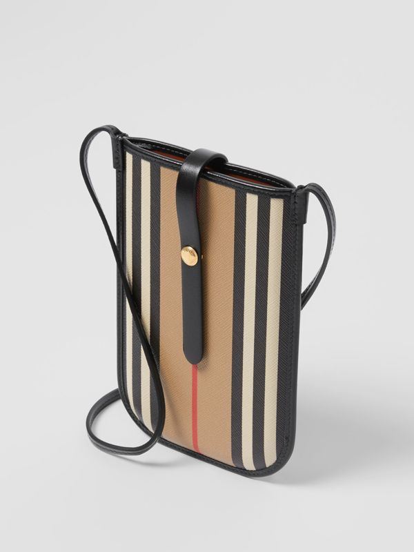 Icon Stripe E-canvas Phone Case with Strap in Archive Beige | Burberry - cell image 2