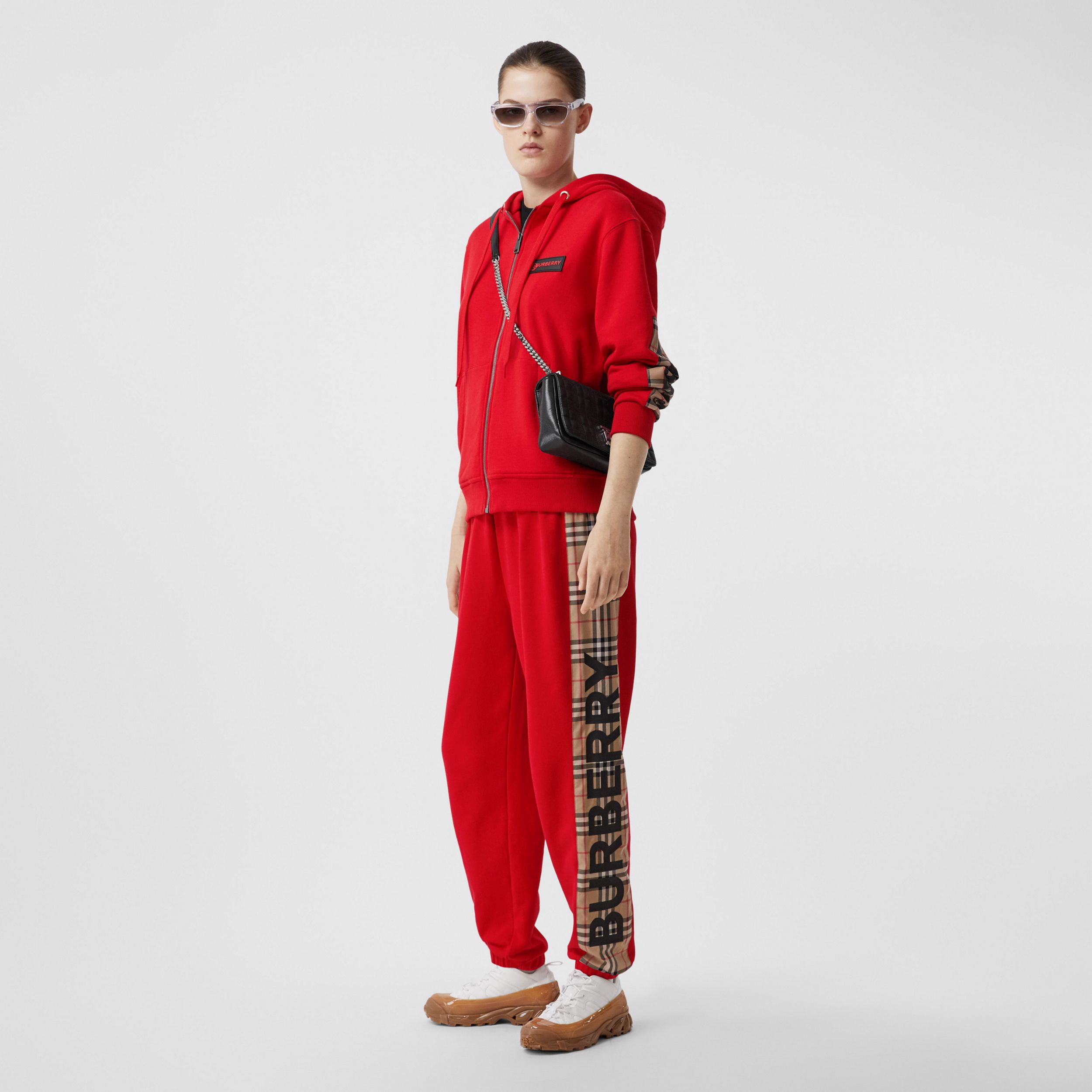 Vintage Check Panel Cotton Jogging Pants in Bright Red - Women | Burberry United Kingdom - 1