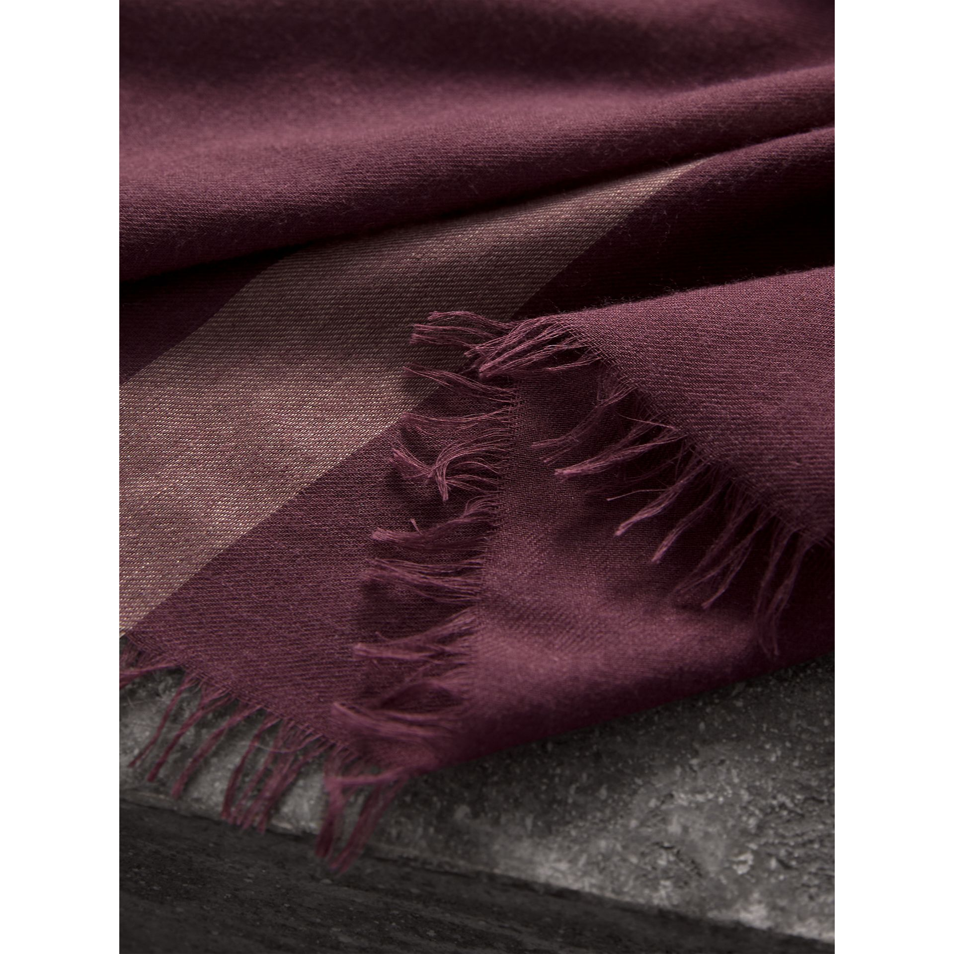 Check Modal Wool Scarf in Mauve Pink - Women | Burberry United Kingdom - gallery image 1