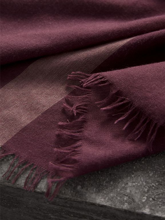 Check Modal Wool Scarf in Mauve Pink - Women | Burberry - cell image 1