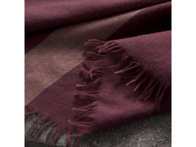 Check Modal Wool Scarf in Mauve Pink - Women | Burberry United Kingdom - cell image 1