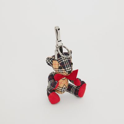 Thomas Bear Charm In Small Scale Check Cotton by Burberry