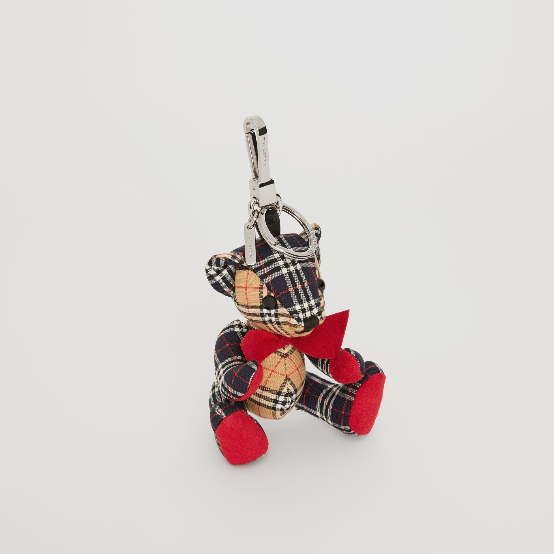 Thomas Bear Charm in Small Scale Check Cotton in Antique Yellow | Burberry - gallery image 0