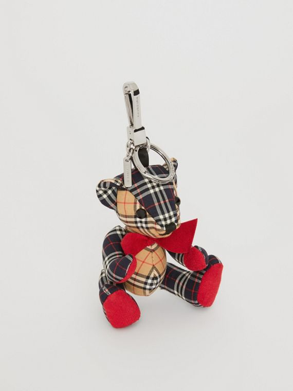 Thomas Bear Charm in Small Scale Check Cotton in Antique Yellow