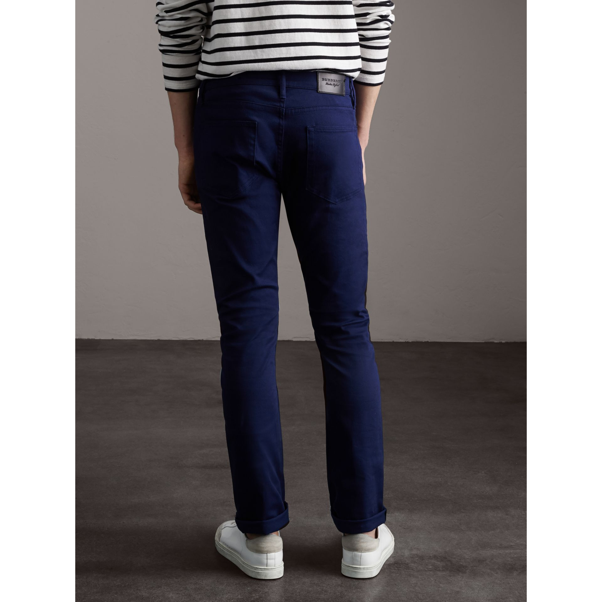 Straight Fit Unwashed Stretch Denim Jeans in Bright Navy Blue - Men | Burberry - gallery image 3