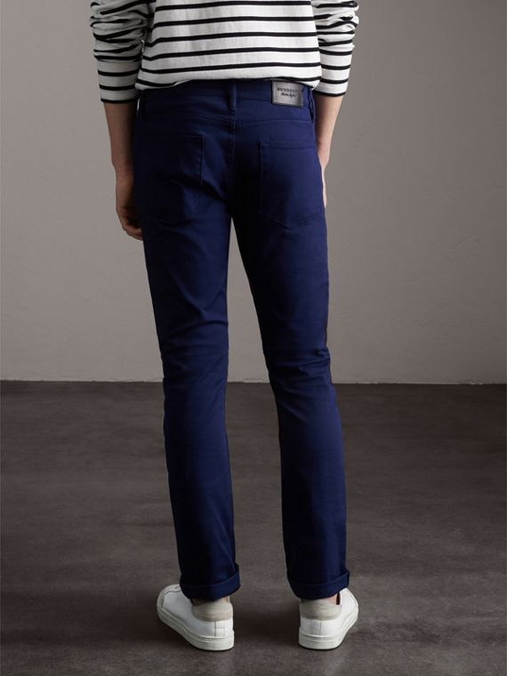 Straight Fit Unwashed Stretch Denim Jeans in Bright Navy Blue - Men | Burberry - cell image 2