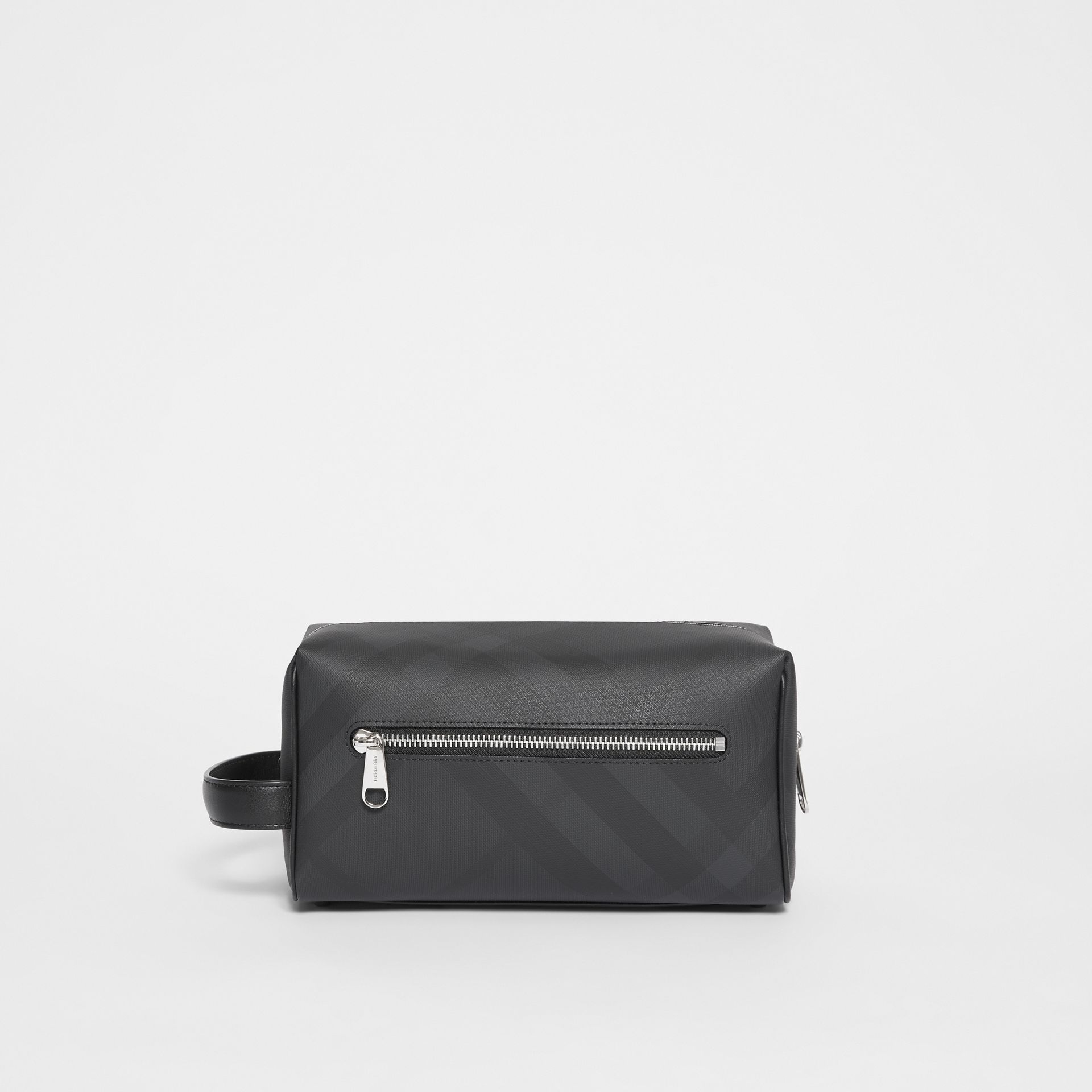 London Check and Leather Travel Pouch in Dark Charcoal - Men | Burberry United States - gallery image 7