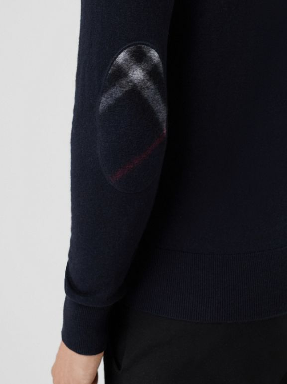 Zip-neck Cashmere Cotton Sweater in Navy - Men | Burberry United Kingdom - cell image 1
