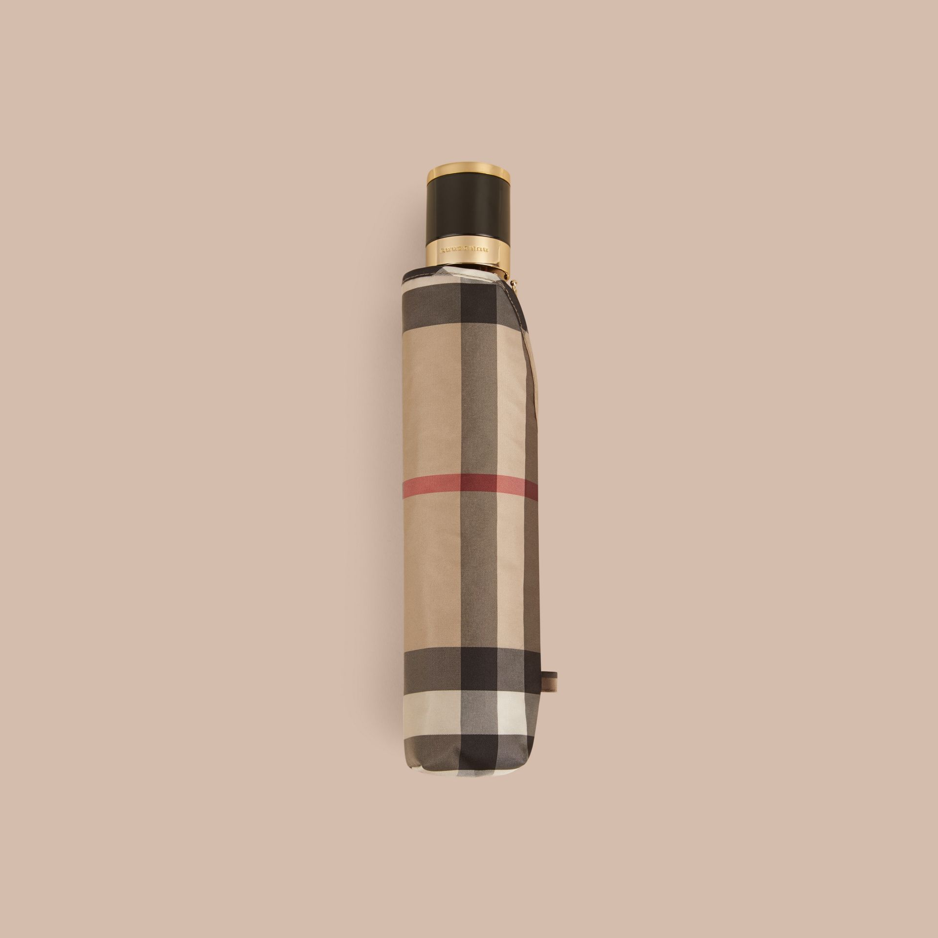 Check Folding Umbrella in Camel | Burberry - gallery image 4