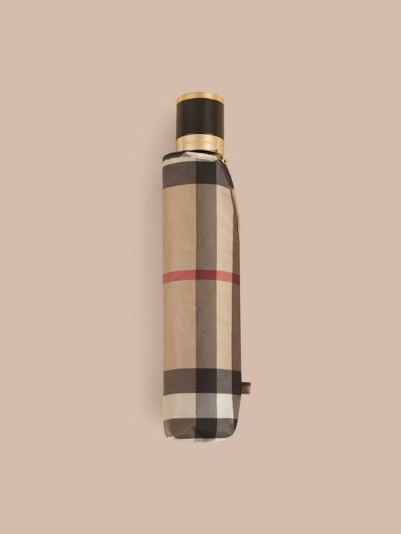 Check Folding Umbrella in Camel | Burberry - cell image 3