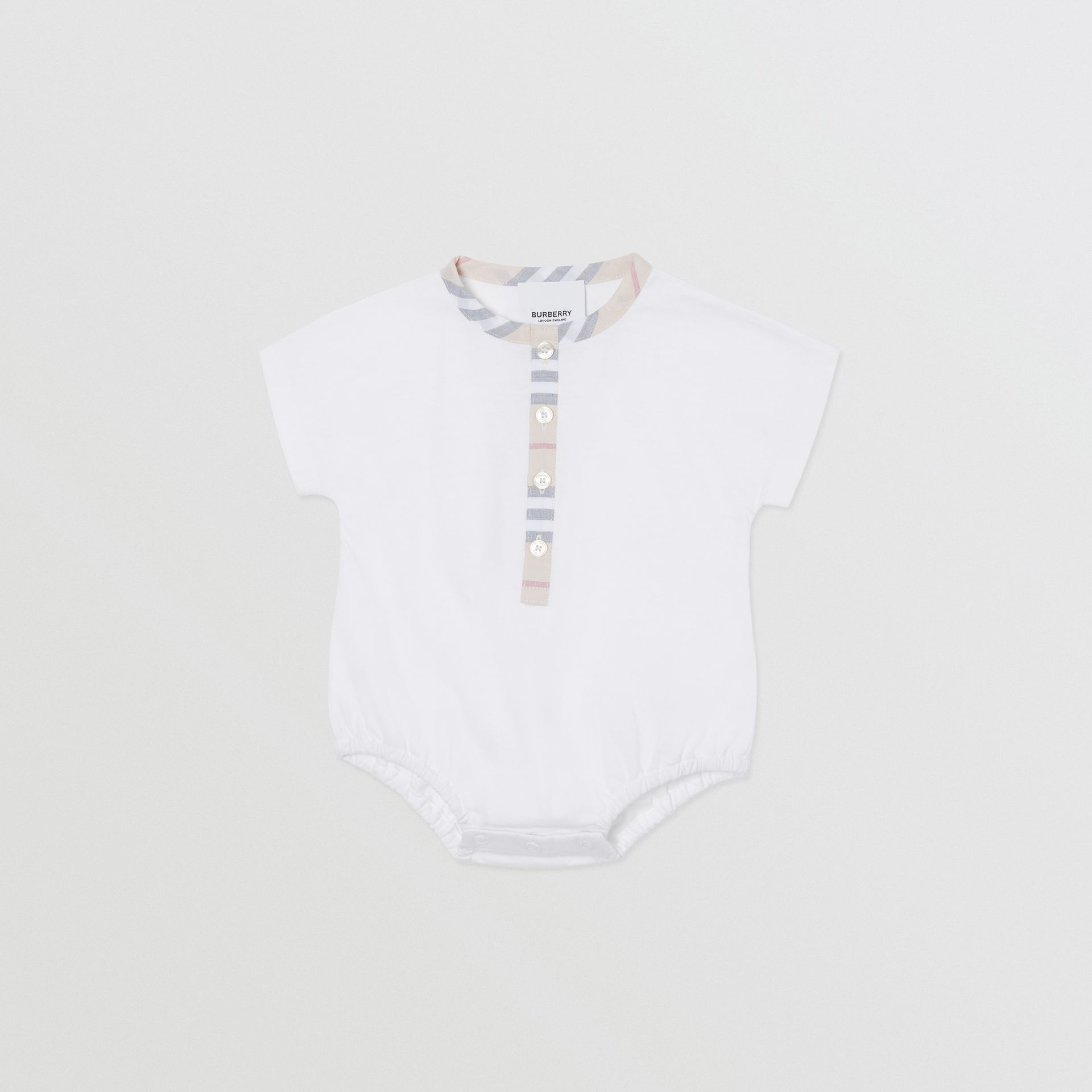 Icon Stripe Cotton Three-piece Baby Gift Set in Pale Stone - Children | Burberry United Kingdom - gallery image 3
