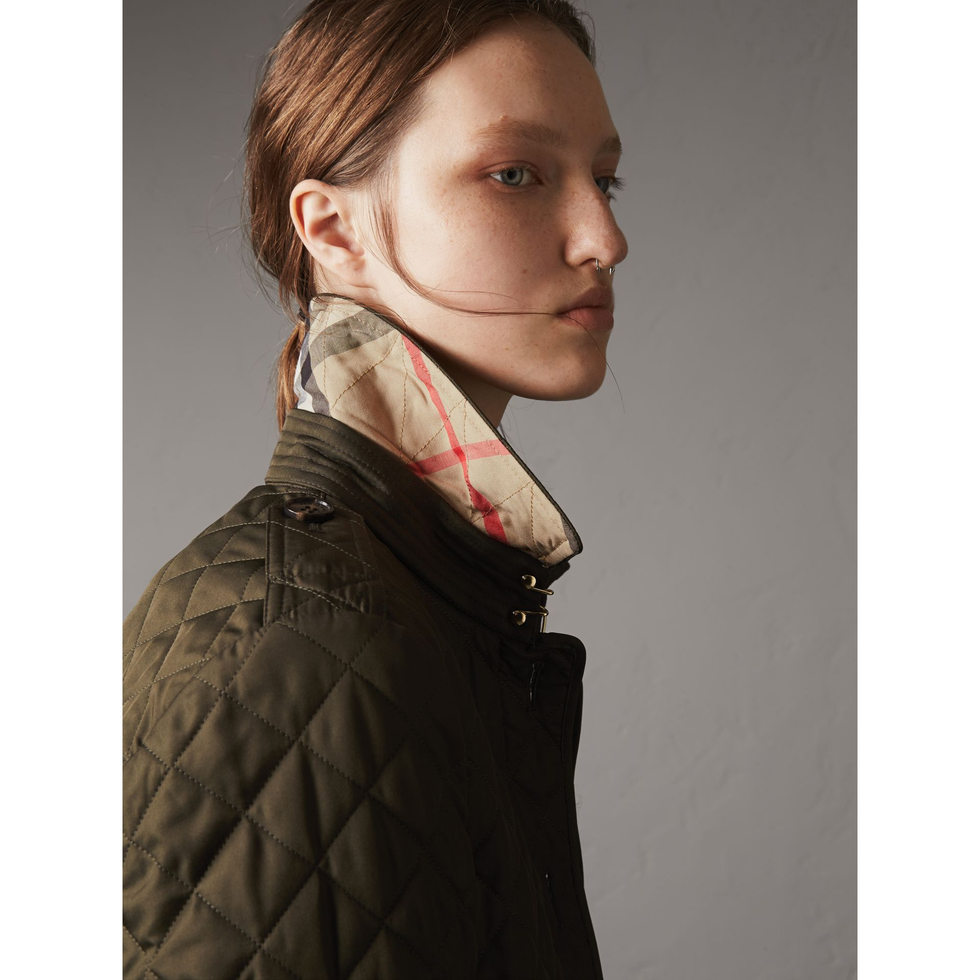 Diamond Quilted Jacket in Dark Olive - Women | Burberry Singapore - gallery image 2