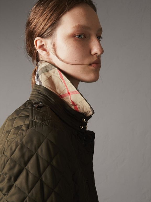 Diamond Quilted Jacket in Dark Olive - Women | Burberry - cell image 1