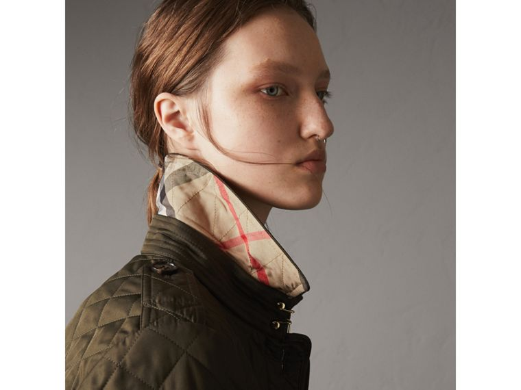 Diamond Quilted Jacket in Dark Olive - Women | Burberry Singapore - cell image 1