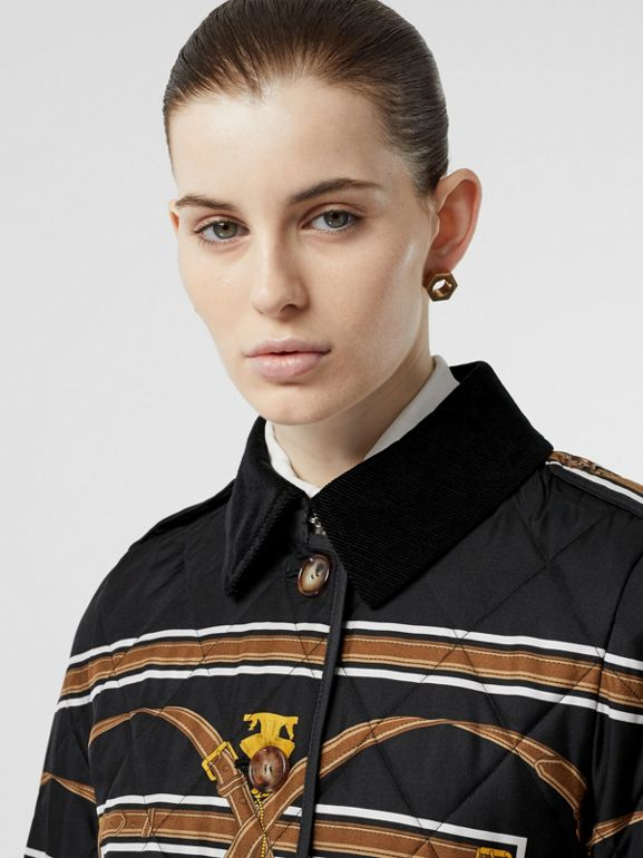 Archive Scarf Print Diamond Quilted Jacket in Black - Women | Burberry Australia - cell image 1