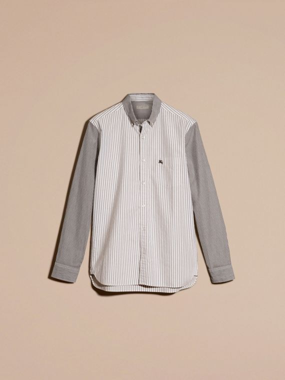 Black Panelled Striped Cotton Shirt - cell image 3