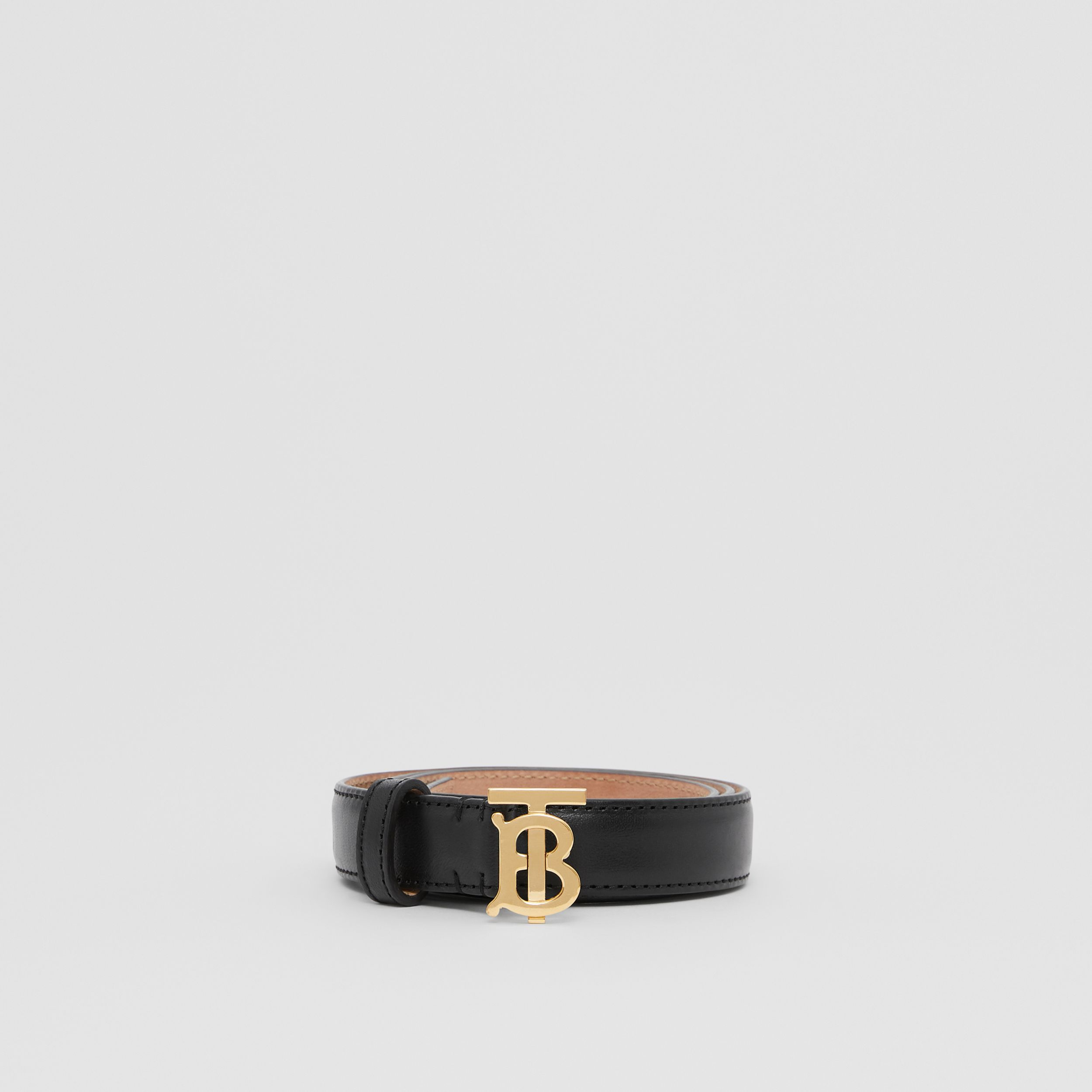 Monogram Motif Leather Belt in Black/light Gold - Women | Burberry United States - 3