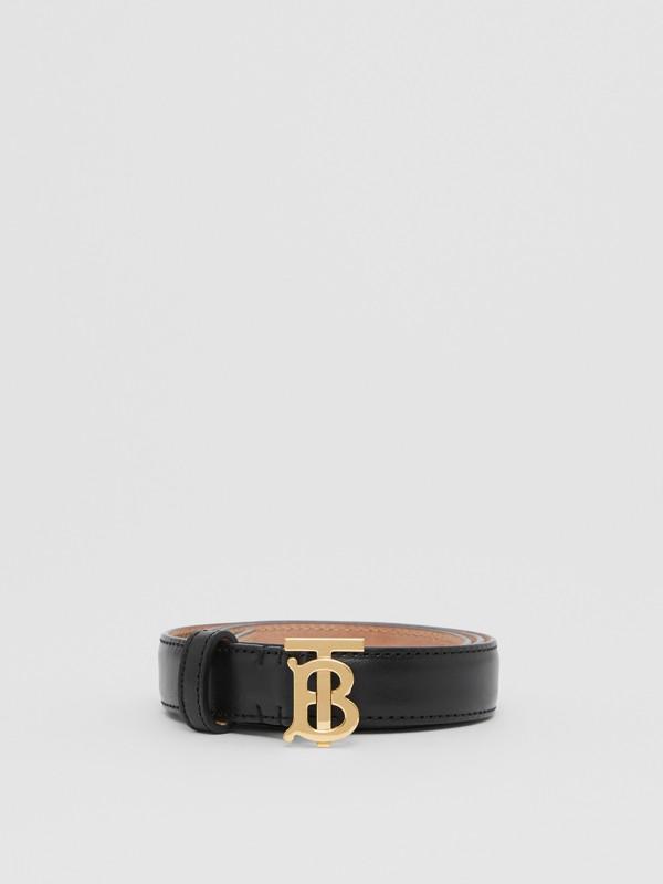 Monogram Motif Leather Belt in Black/light Gold - Women | Burberry United Kingdom - cell image 2