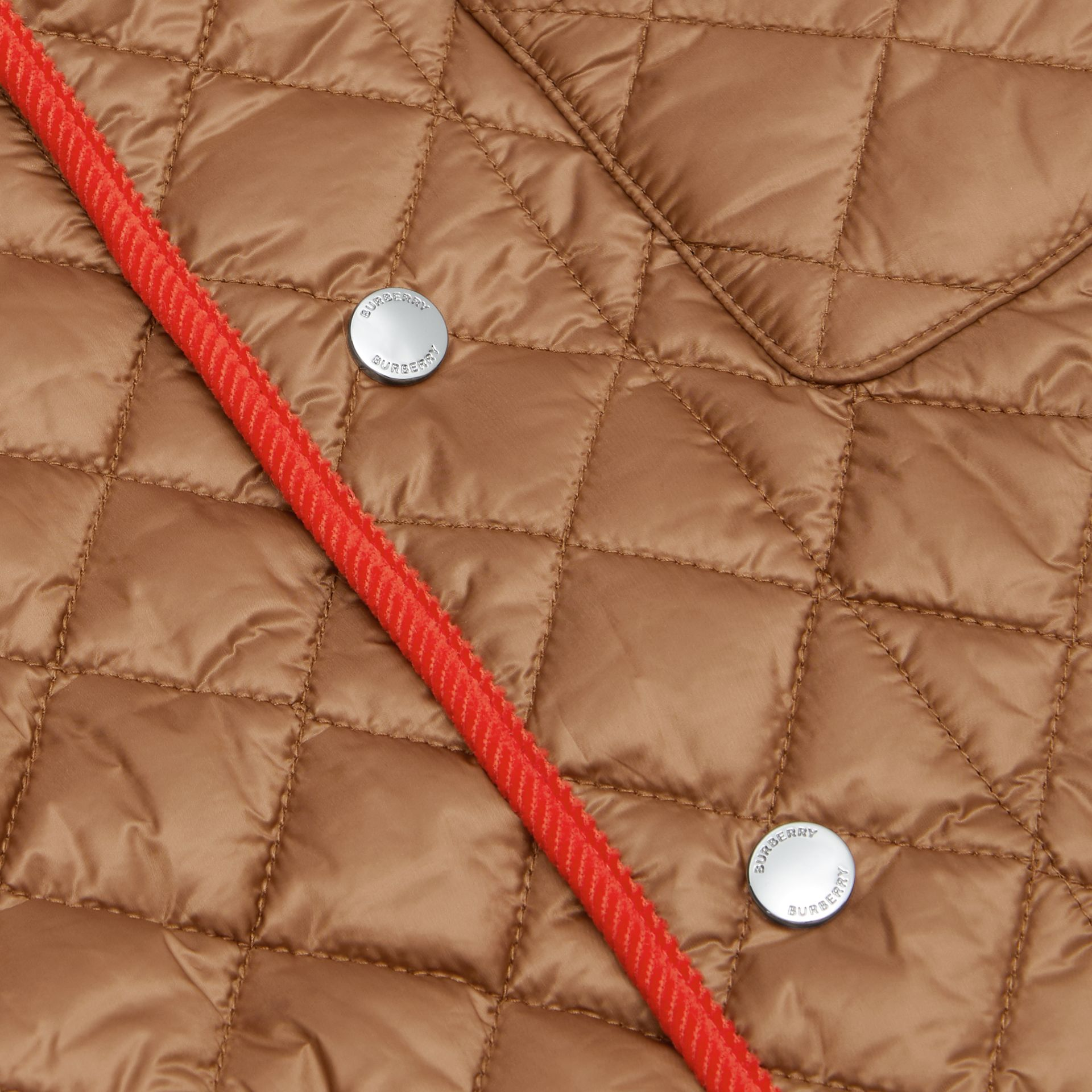 Icon Stripe Trim Lightweight Diamond Quilted Jacket in Bronze | Burberry - gallery image 1