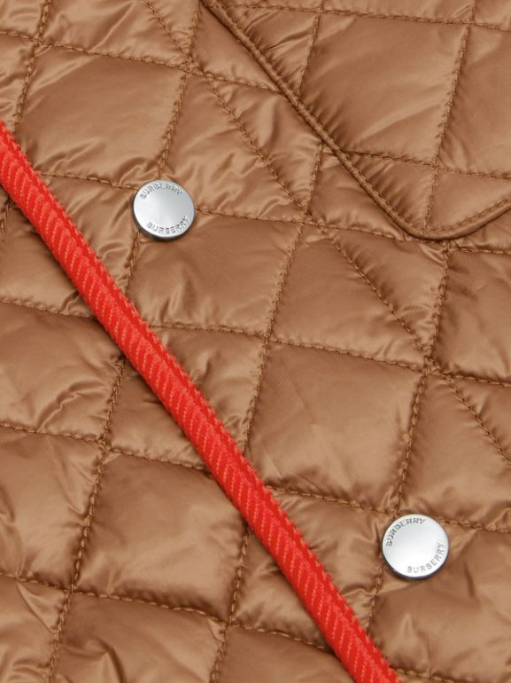 Icon Stripe Trim Lightweight Diamond Quilted Jacket in Bronze | Burberry - cell image 1