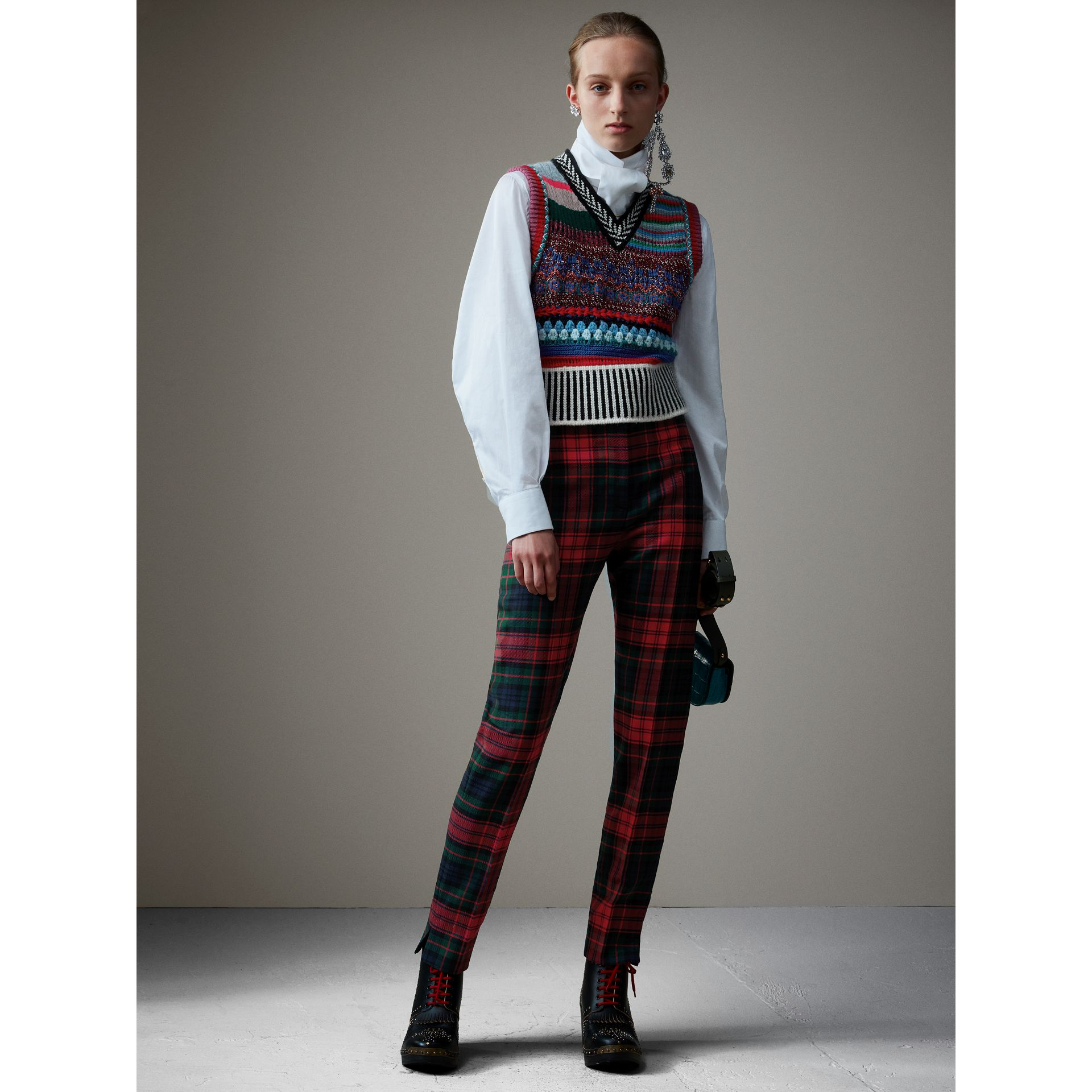 Tartan Wool High-waisted Trousers in Bright Red - Women | Burberry Australia - gallery image 4