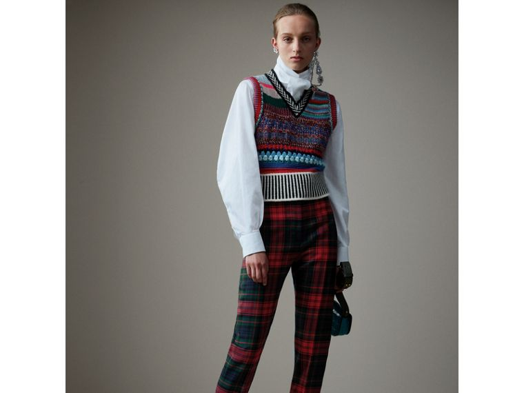Tartan Wool High-waisted Trousers in Bright Red - Women | Burberry Australia - cell image 4