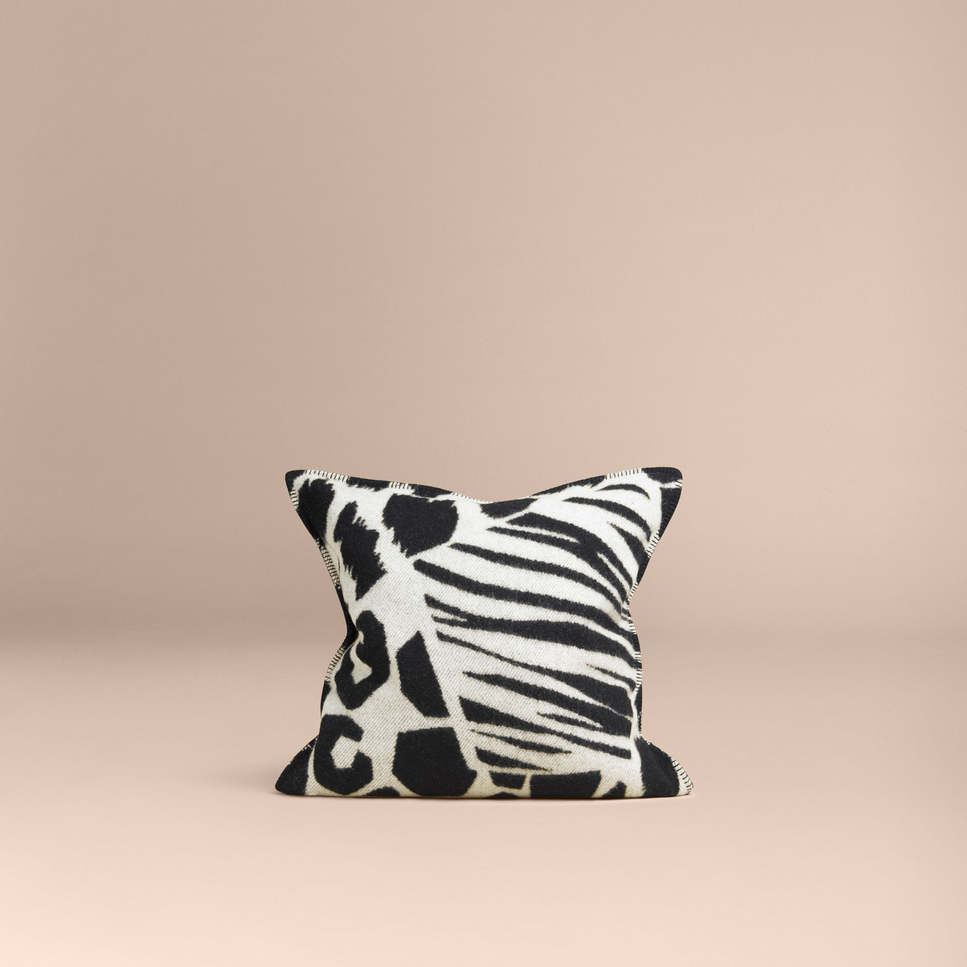 Black/white Animal Print Wool Cashmere Cushion Cover - gallery image 3