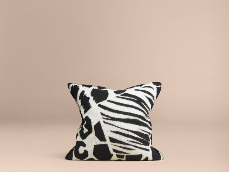 Black/white Animal Print Wool Cashmere Cushion Cover - cell image 2
