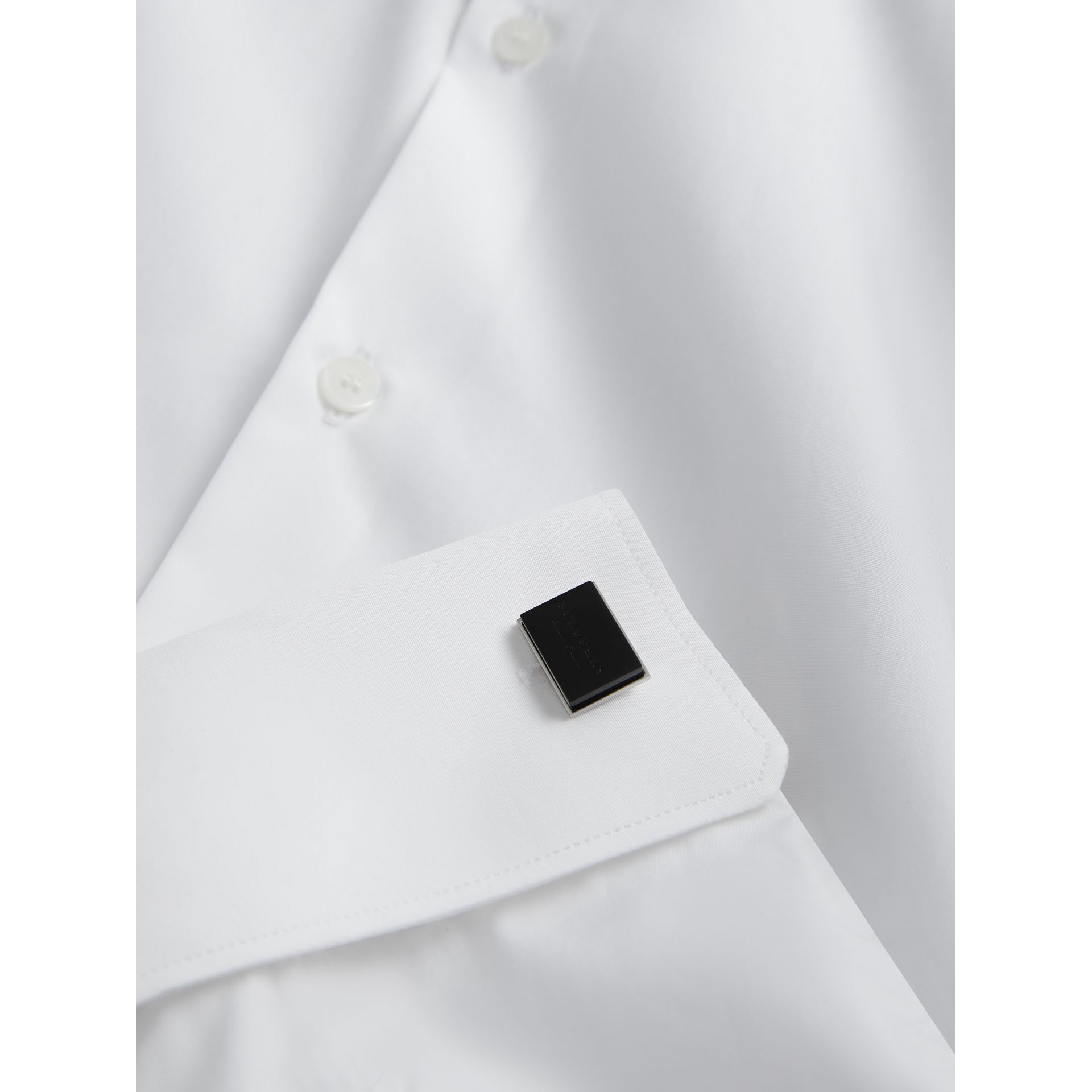 Engraved Enamel Cufflinks in Black - Men | Burberry - gallery image 2
