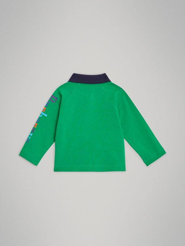Archive Logo Print Cotton Long-sleeve Polo Shirt in Bright Pigment Green - Children | Burberry Australia - cell image 3