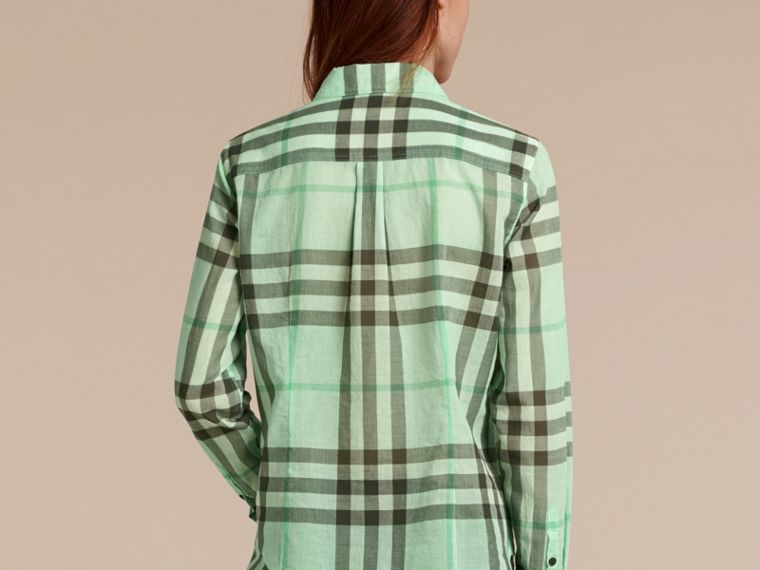 Bright opal green Check Cotton Shirt Bright Opal Green - cell image 1