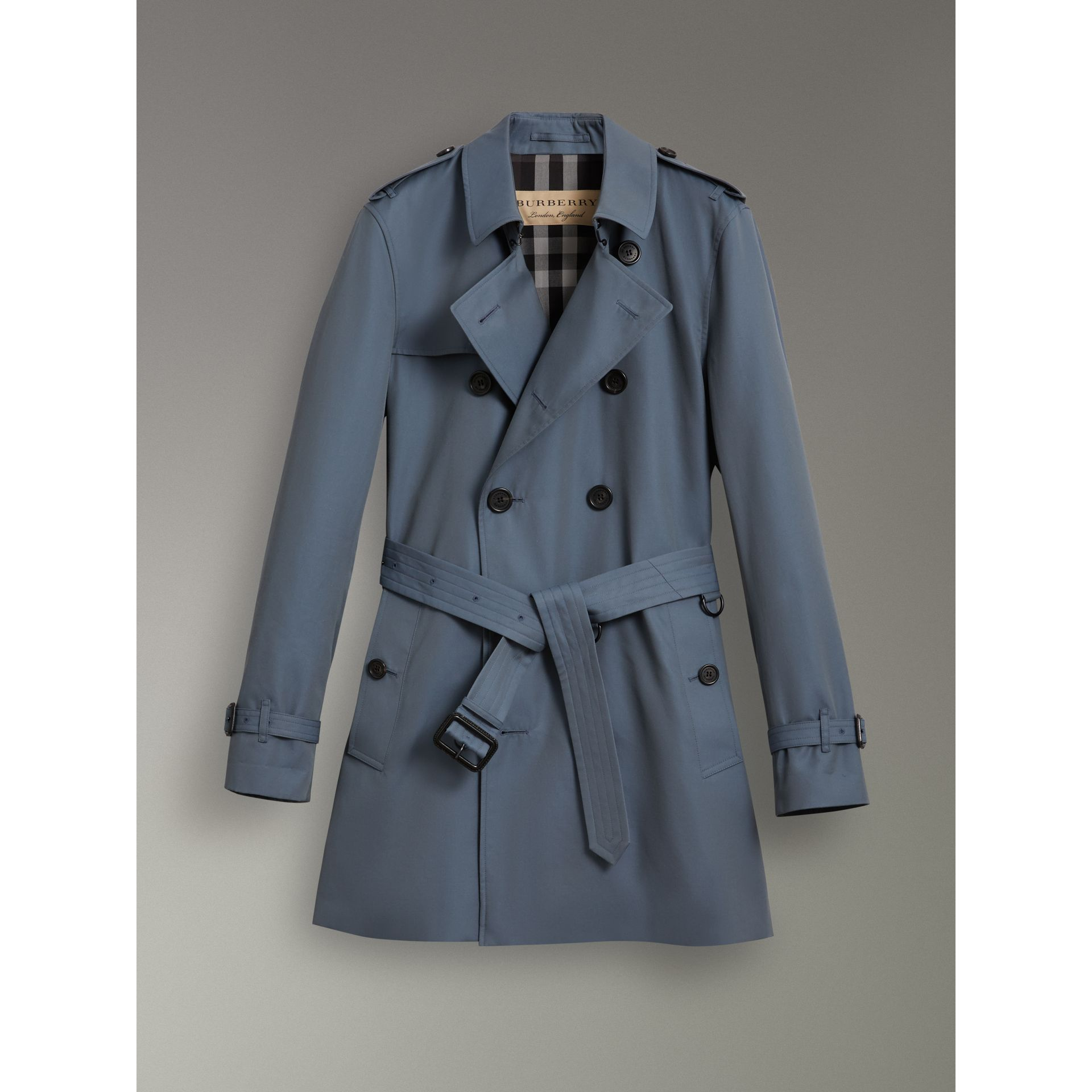 Cotton Gabardine Trench Coat in Empire Blue - Men | Burberry Singapore - gallery image 3