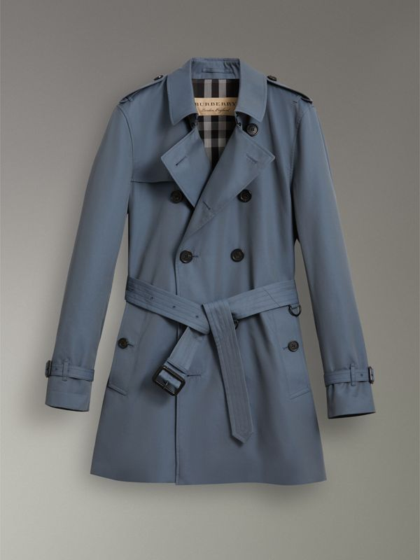 Cotton Gabardine Trench Coat in Empire Blue - Men | Burberry Singapore - cell image 3