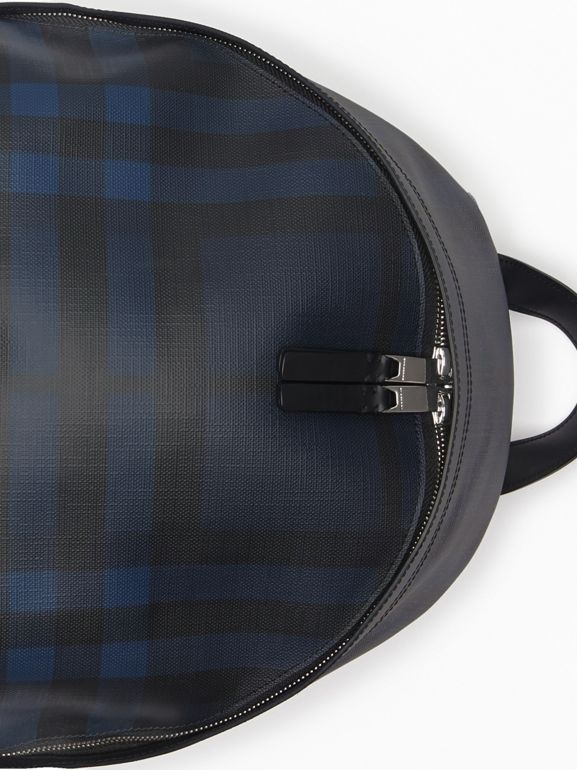 Leather Trim London Check Backpack in Navy/black - Men | Burberry - cell image 1