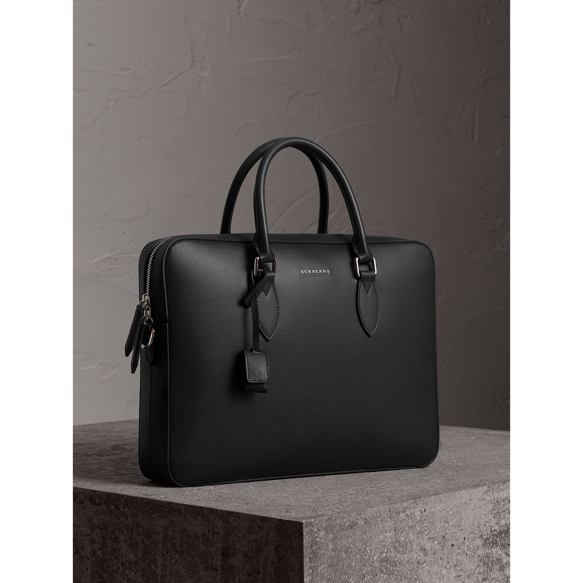 London Leather Briefcase in Black - Men | Burberry Canada - gallery image 5