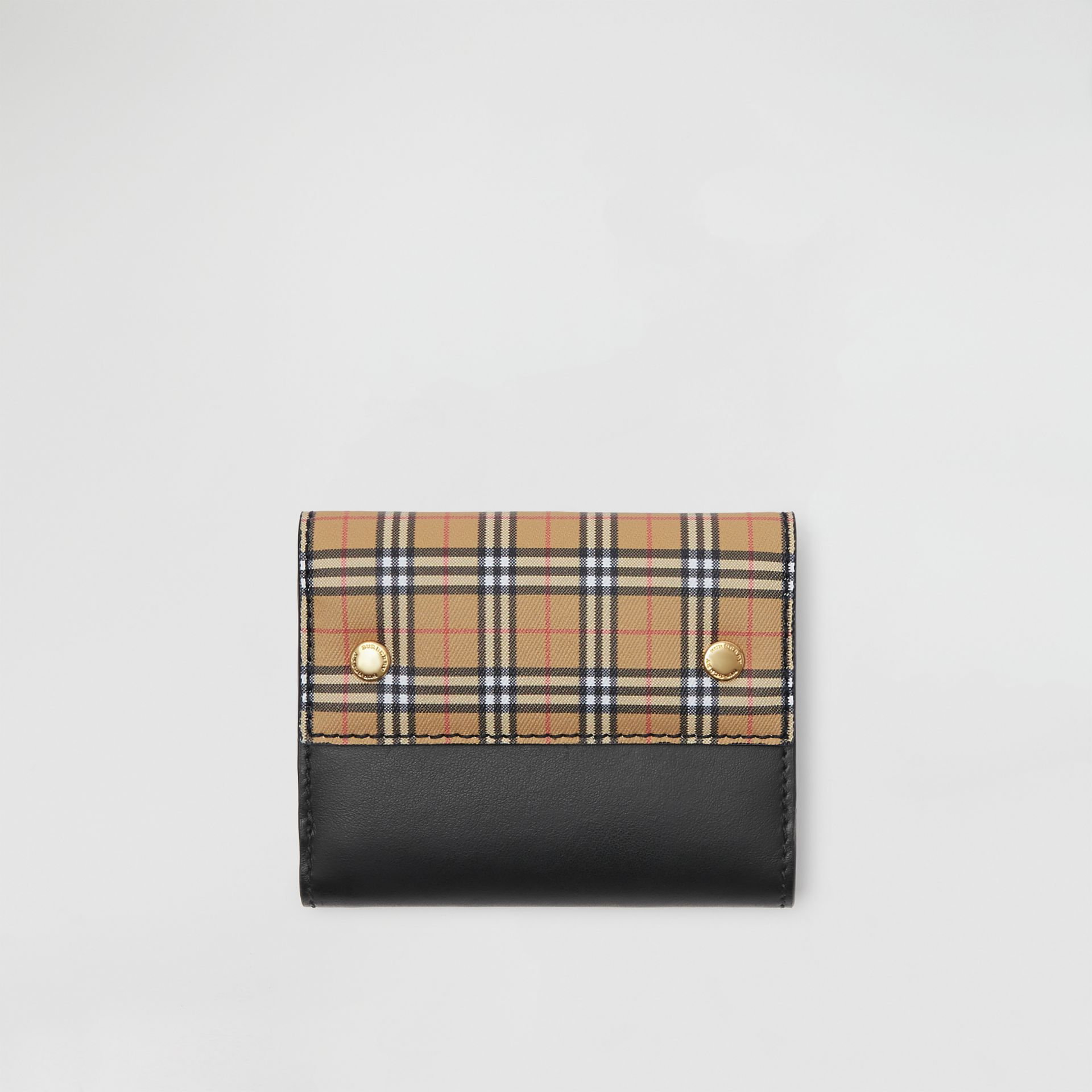 Small Scale Check and Leather Folding Wallet in Antique Yellow - Women | Burberry Canada - gallery image 0