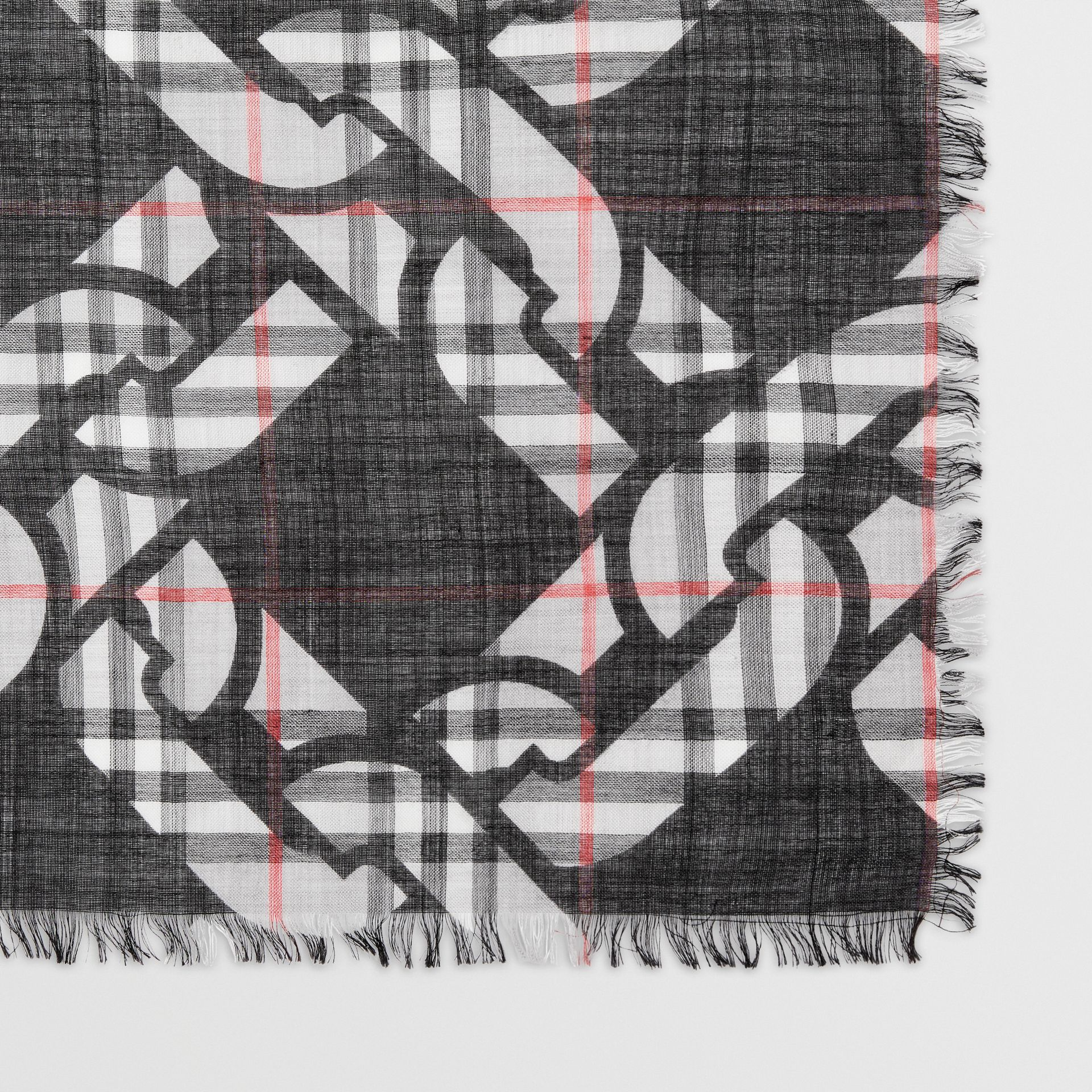 Link Print Vintage Check Large Square Scarf in Charcoal | Burberry - gallery image 1