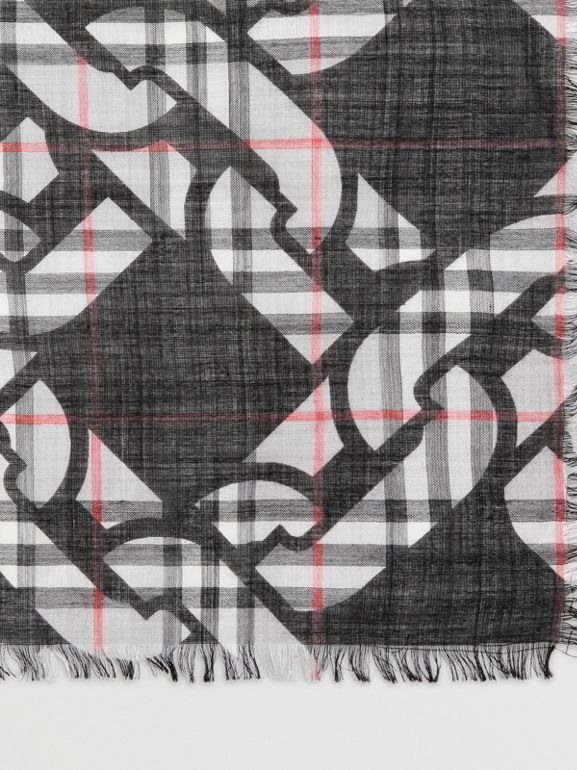 Link Print Vintage Check Large Square Scarf in Charcoal | Burberry - cell image 1