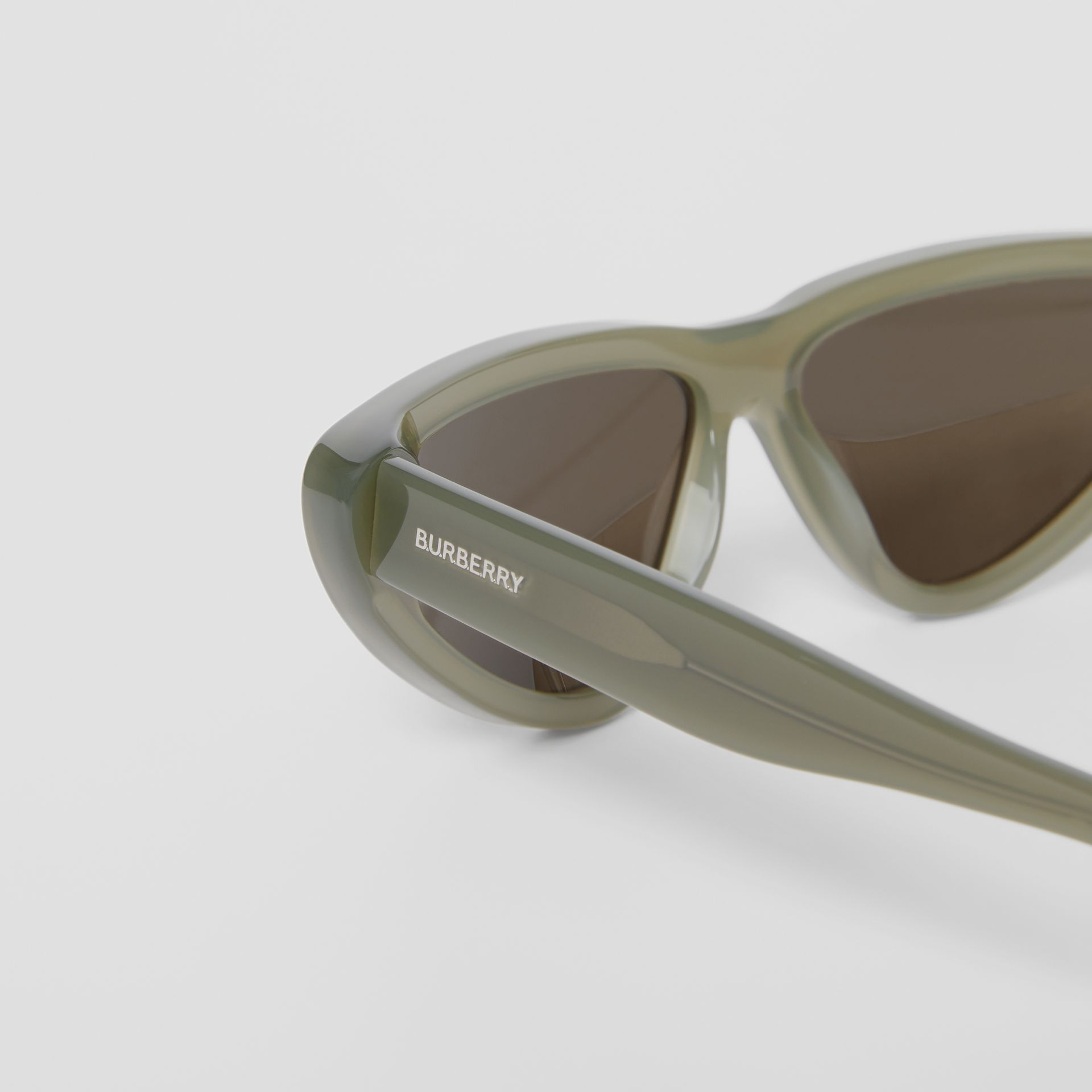 Triangular Frame Sunglasses in Opal Green - Women | Burberry - gallery image 1