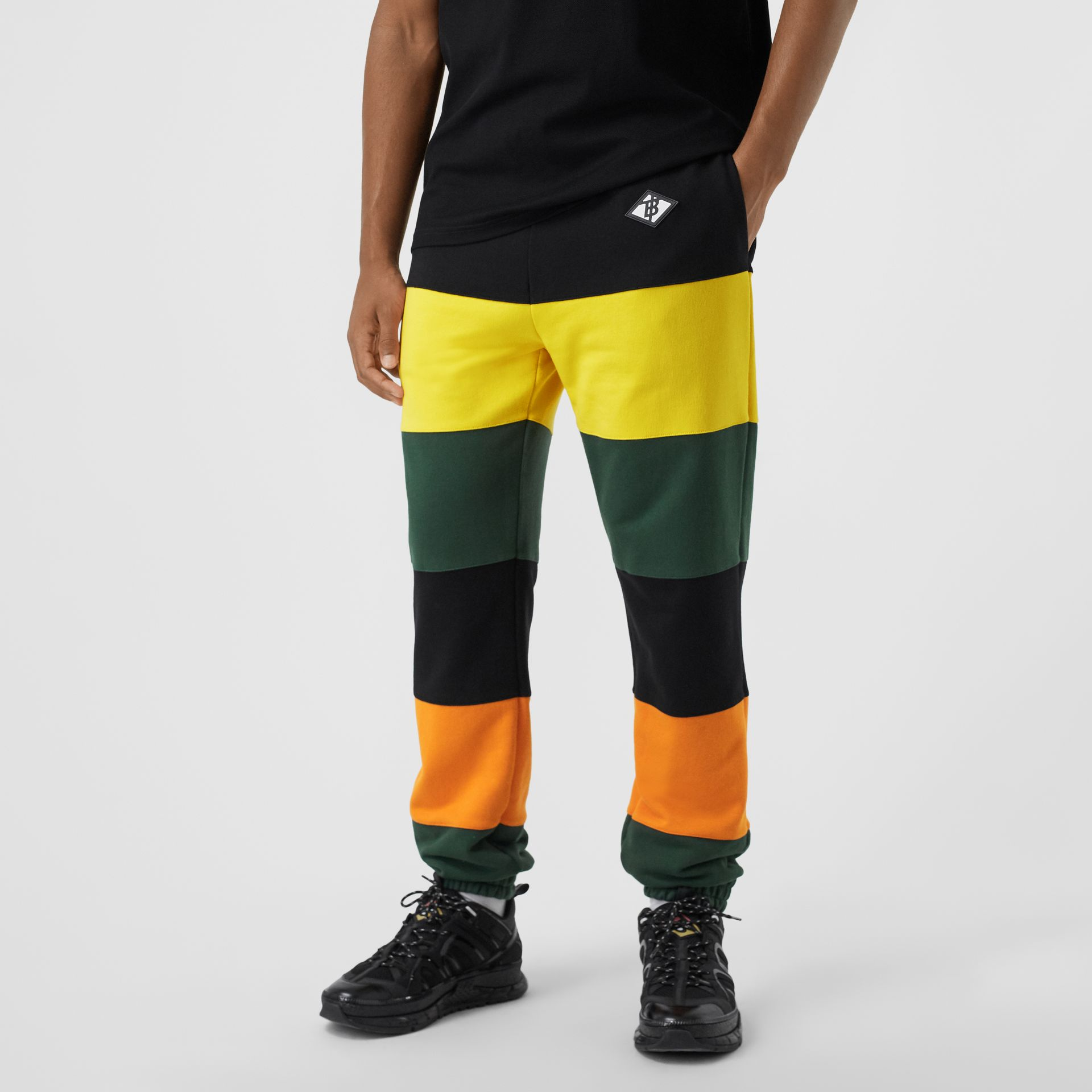 Logo Graphic Colour Block Cotton Trackpants in Canary Yellow - Men | Burberry Hong Kong S.A.R - gallery image 4