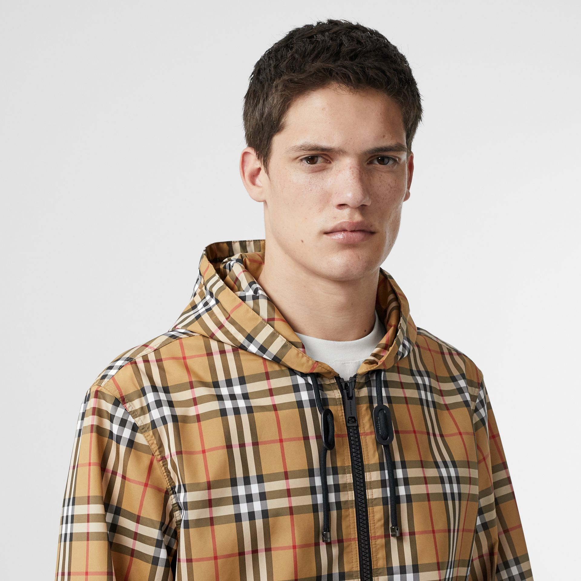 Vintage Check Lightweight Hooded Jacket in Antique Yellow - Men | Burberry - gallery image 1
