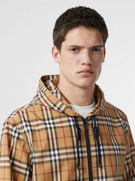 Vintage Check Lightweight Hooded Jacket in Antique Yellow - Men | Burberry - cell image 1