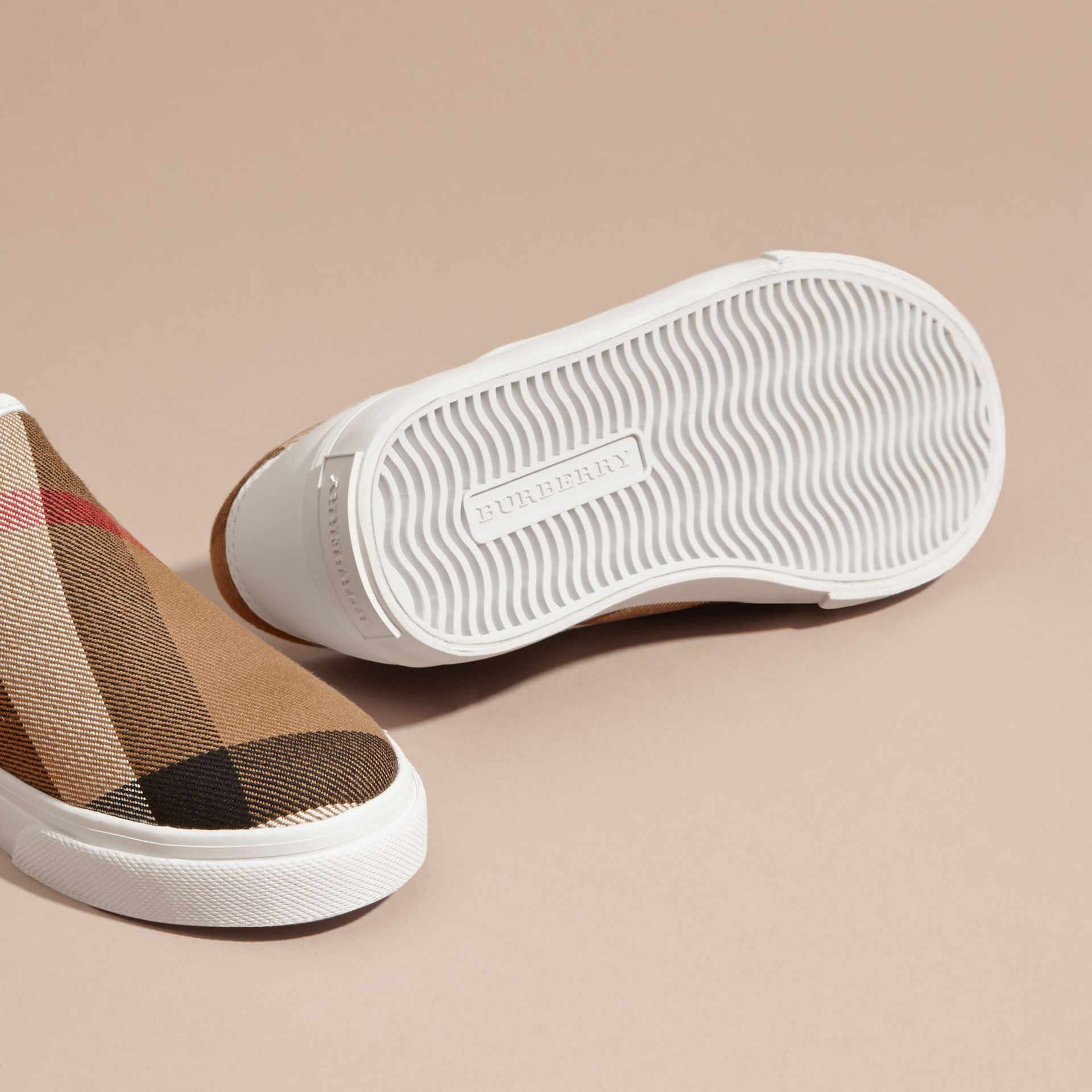 House Check Cotton Slip-On Trainers in White | Burberry United States - gallery image 2