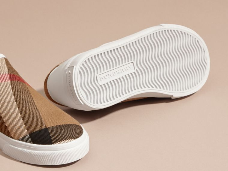 House Check Cotton Slip-On Trainers in White | Burberry United States - cell image 1