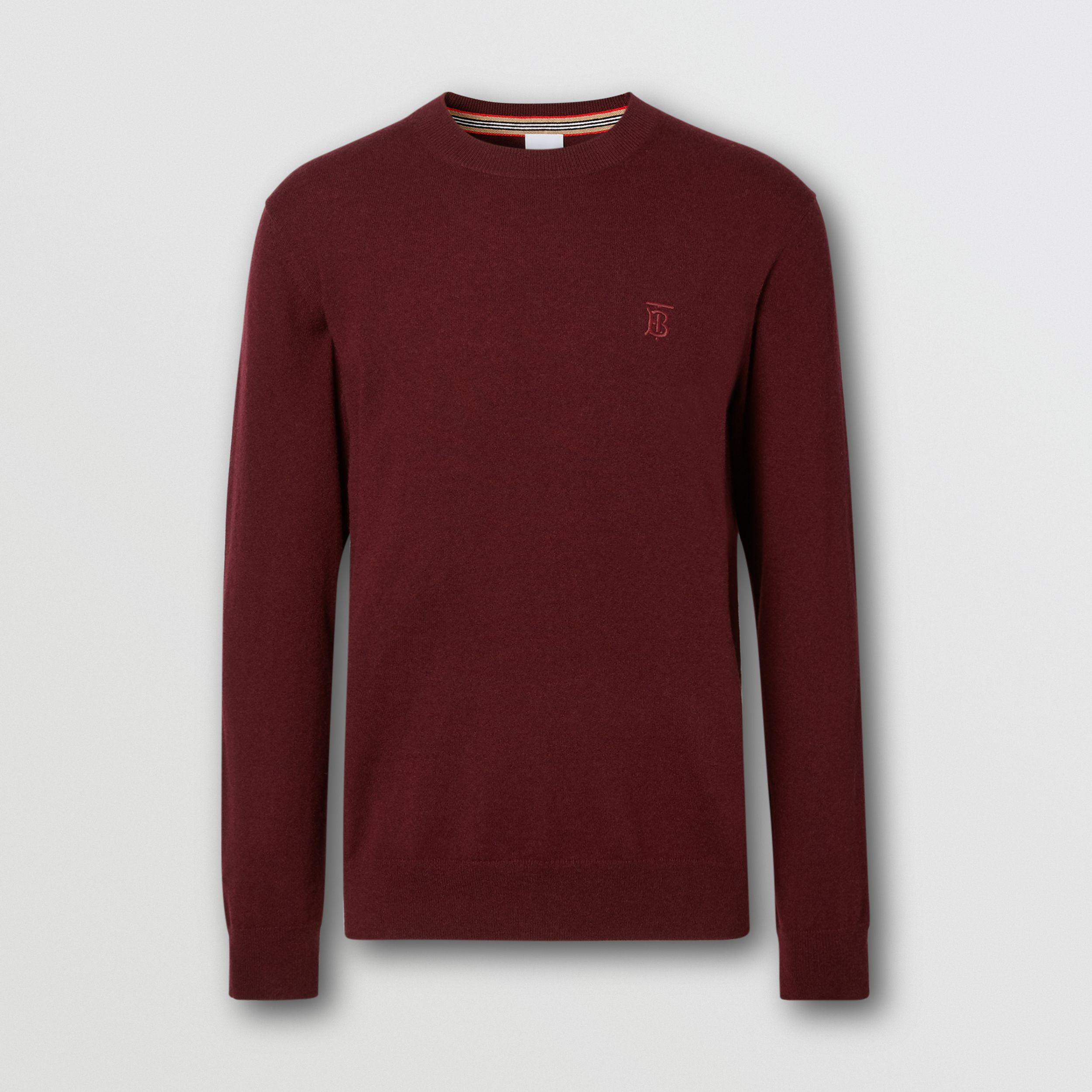 Monogram Motif Cashmere Sweater in Deep Merlot - Men | Burberry - 4